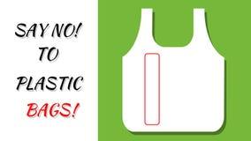 Скажите нет к полиэтиленовым пакетам Концепция BYOB Принесите вашу собственную сумку Замените продукты одиночной пользы пластиков видеоматериал