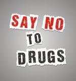Скажите нет к плакату лекарств Стоковые Фотографии RF