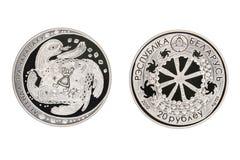 Сказание серебряной монеты Беларуси черепахи стоковое изображение rf