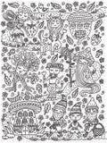 Сказка леса Фея, гном, mage, гриб, жолудь, кентавр, дерево Страница книжка-раскраски Чертеж плана также вектор иллюстрации притяж иллюстрация штока
