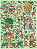 Сказка леса Фея, гном, mage, гриб, жолудь, кентавр, дерево Doodles милой руки вычерченные также вектор иллюстрации притяжки corel иллюстрация вектора