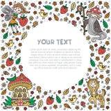 Сказка леса Шаблон рамки и текста Карта, летчик, знамя также вектор иллюстрации притяжки corel бесплатная иллюстрация