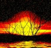 сказовый заход солнца Стоковые Фото