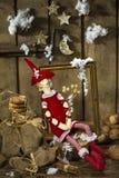 Сказ ночи рождества с handmade игрушками стоковые изображения