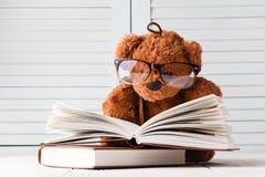 Сказ ребенк с плюшевым медвежонком и книгами Стоковые Изображения RF