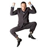 скакать бизнесмена счастливый стоковые изображения rf