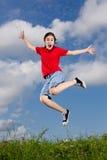Скакать девушки внешний Стоковое Изображение