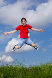 Скакать девушки внешний Стоковое Изображение RF