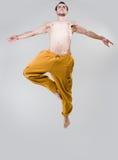 скакать танцора предпосылки серый над детенышами Стоковое Фото