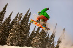 Скакать Snowboarder стоковые изображения