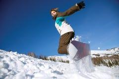 Скакать Snowboarder Стоковое Изображение RF