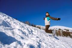 Скакать Snowboarder Стоковые Изображения RF