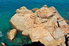 Скалистая береговая линия в городке 1770 в Австралии Стоковые Изображения