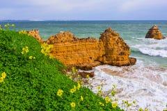Скалистые скалы Dona Анаа Прая на Лагосе, Португалии Стоковые Фото