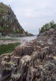 Скалистый банк реки Katun - вертикально стоковая фотография rf