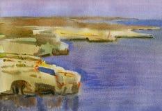 Скалистый берег моря на заходе солнца бесплатная иллюстрация
