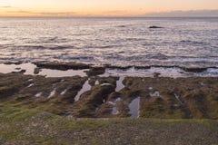 Скалистый берег океана Тенерифе во время малой воды стоковые изображения
