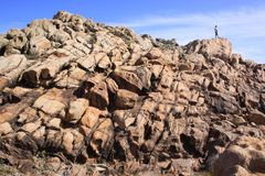 Скалистый ландшафт на пляже Yallingup в западной Австралии Стоковое Изображение RF