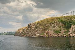 Скалистый правый берег реки Dnieper Стоковые Фото