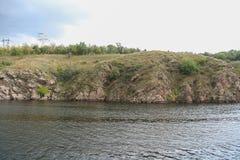 Скалистый правый берег реки Dnieper Стоковое Изображение RF