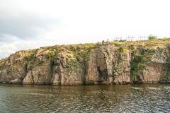 Скалистый правый берег реки Dnieper Стоковое фото RF