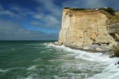 Скалы алебастра Fecamp, Нормандия, Франция стоковое фото rf