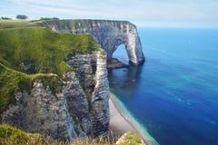 Скалы мелка на d'Albatre Коута. Etretat Стоковая Фотография