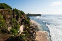 Скалы пляжа Balangan, Бали Индонезия Стоковая Фотография RF