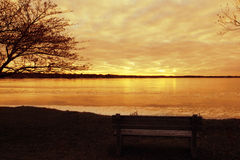 Скамейка в парке зимы Стоковые Изображения