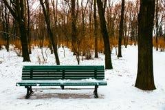 Скамейка в парке и окружающие деревья покрытые снегом во время зимы приправляют Стоковые Фотографии RF