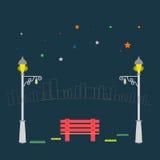 Скамейка в парке и уличный свет вектора на предпосылке города Стоковые Фото
