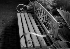 Скамейка в парке ожидает незнакомца стоковые фотографии rf