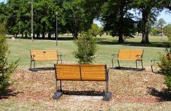 Скамейки в парке в травянистом поле на солнечный день Стоковые Изображения