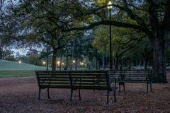 Скамейки в парке на зоре Стоковые Фото