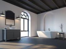 Скандинавская ванная комната с черным деревянным полом 3d представляет Стоковые Фото