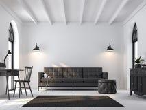 Скандинавская живущая комната 3d представляет, обеспеченный с черной мебелью Стоковые Фото