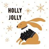 Скандинавская поздравительная открытка рождества стиля Милой кролик нарисованный рукой и падуб фразы весёлый иллюстрация вектора