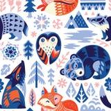 Скандинавская предпосылка полесья с декоративными животными и элементами природы также вектор иллюстрации притяжки corel бесплатная иллюстрация
