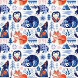Скандинавская предпосылка полесья с декоративными животными и элементами природы также вектор иллюстрации притяжки corel иллюстрация штока