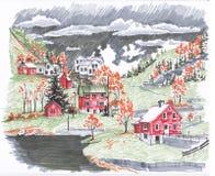Скандинавские холмы Сделайте эскиз к отметкам бесплатная иллюстрация