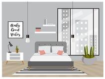 Скандинавский интерьер стиля Спальня с ультрамодной мебелью Стоковая Фотография RF