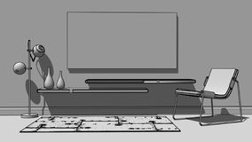 скандинав конспектированный интерьером бесплатная иллюстрация