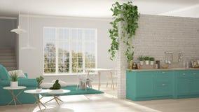 Скандинавская белизна и прожитие бирюзы минималистское с кухней, бесплатная иллюстрация