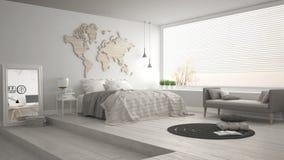 Скандинавская минималистская спальня, minimalistic современный интерьер de стоковые изображения rf