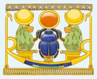 Скарабей с павианами Стоковое Изображение