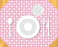 скатерть таблицы блинчиков обеда икры установка обеда официально Изолированный плоский вектор стиля Стоковое Фото