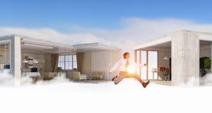 Скача бизнесмен в офисе Мультимедиа Мультимедиа Стоковая Фотография RF