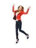 Скача девочка-подросток в вскользь одеждах Стоковое Изображение RF