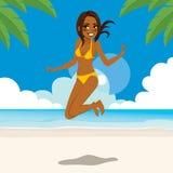 Скача женщина пляжа иллюстрация штока