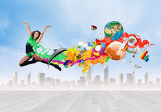 Скача женщина Стоковые Фото